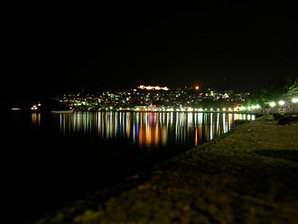 "Ohrid - Ohrid by night. The ancient name of the city was Lychnidos, which probably means ""city of light"""