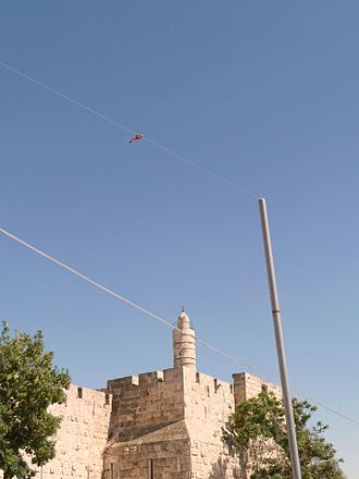 Eruv - An eruv pole and wire outside the Tower of David, Jerusalem. Only the higher of the two visible wires is used by the eruv.