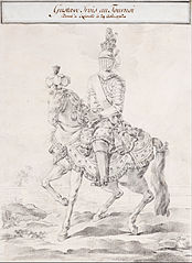 Gustav III in harness on horse back