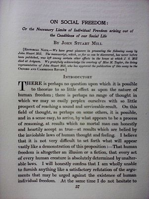 On Social Freedom - Title page of Mill's On Social Freedom featured for the first time in The Oxford and Cambridge Review, June 1907.