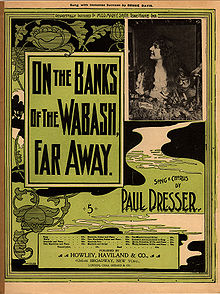 "A printed page with a design of vines and a stream of water snaking downward from the top of the page. Text on the page reads, ""On the Banks of the Wabash, Far Away"" and ""by Paul Dresser"