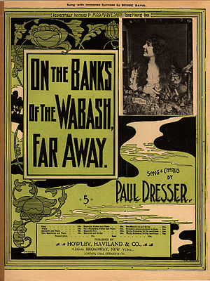 On the Banks of the Wabash, Far Away - Image: On the Banks of the Wabash, Far Away, sheet music cover with Bessie Davis, Paul Dresser, 1897