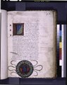Opening of text with rubric of rustic capitals, large initial, 1-line red initials, coat of arms, gold flourishes and notes in red and black ink (NYPL b12455533-426843).tif