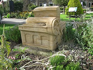 Otley - Sculpture of Wharfedale Press in Wharfemeadows Park