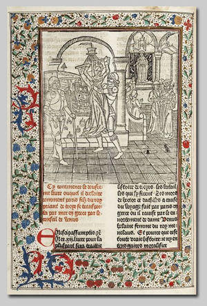 Colard Mansion - Page from the Ovide Moralisé, with woodcut and added illumination (Bruges, Public Library, Inc. 3877, f. 294v).