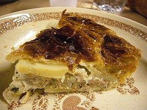 Occitan cuisine - A slice of pastís de treflas, a kind of potato pie