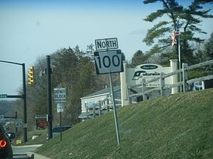 Pennsylvania Route 100 - Northbound PA 100 shield in Exton, past the interchange with US 30