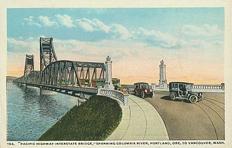 Interstate Bridge - Postcard showing streetcar tracks, period autos