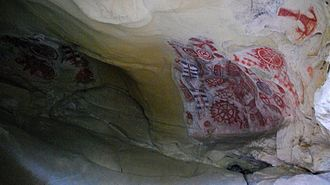 Rock art of the Chumash people - Interior of Painted Cave