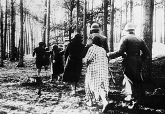 Einsatzgruppen - Polish women led to mass execution in a forest near Palmiry