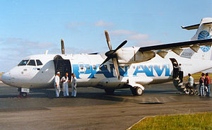 Ransome Airlines - Boarding of a Pan Am Express ATR 42 at Sylt Airport, Germany (1991).