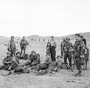 2nd Parachute Brigade (United Kingdom) - British paratroopers of the 2nd Independent Para Brigade on the drop zone at Megara in Greece, 14 October 1944.