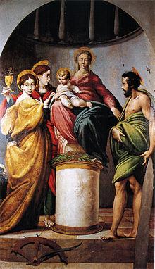 Parmigianino, Sposalizio di santa Caterina e i santi Giovanni Evangelista e Giovanni Battista, 1521-1522, Chiesa di Santa Maria Addolorata