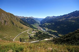 Airolo - View from halfway up St. Gotthard Pass (before entering the Val Tremola) down toward Airolo and the Leventina valley.