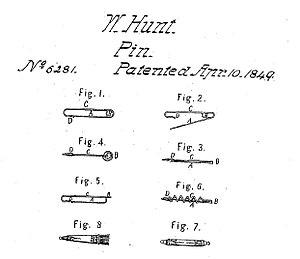 English: Saety pin, patent 6281