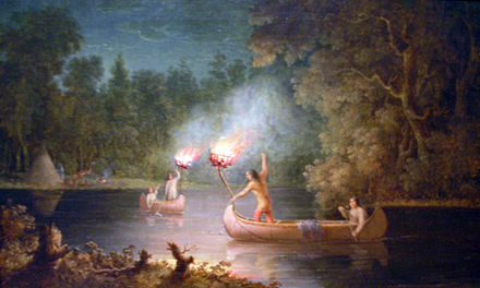 Spearing Salmon By Torchlight, an oil painting by Paul Kane. It features Menominee spearfishing at night by torchlight and canoe on the Fox River.