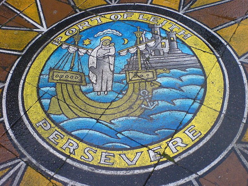 "File:Pavement painting of Leith's motto ""Persevere"".jpg"