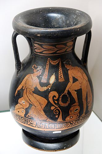 Pelike - Woman and a youth, Apulian red-figure pelike, ca. 370 BC, British Museum (F 316)