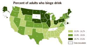 Epidemiology of binge drinking - The percent of adults who binge drink in the US in 2010.