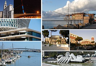 Pescara - A collage of the city, showing Cathedral of San Cetteo, Sea Bridge, Trabucchi, Fater Building, Aurum Museum, Town Hall, Cascella's La Nave, and the city's harbour