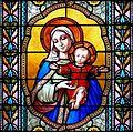 Pfarrkirche Lourdes Glasfenster Maria mit Kind.jpg