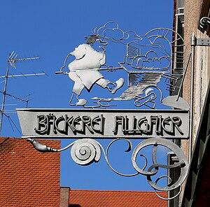 Pfullendorf, Ladenschild der Bäckerei Allgaier