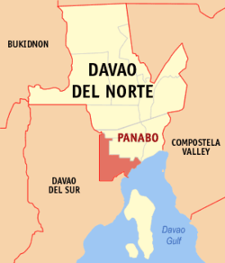 Map of Davao del Norte showing the location of Panabo.