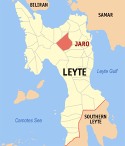Map of Leyte with Jaro highlighted