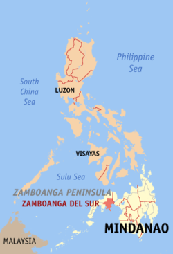 Map of the Philippines with Zamboanga del Sur highlighted
