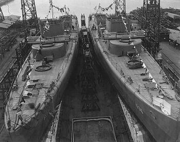 Philadelphia Navy Yard, 1942, USS Gherardi, at...