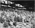 Photograph of President Truman throwing out the first ball at the opening game of the baseball season, at Griffith... - NARA - 200202.tif