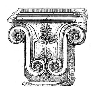Megara Hyblaea - Pilaster capital from Megara Hyblaea with palmettes between volutes. 5th century BCE.