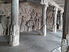 Pillars and bas-reliefs of people and animals
