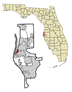 Pinellas County Florida Incorporated and Unincorporated areas Belleair Highlighted.svg