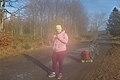 Pink human taking a peanut butter break in Fagne Tirifaye, Waimes, Belgium (sensor is foggy, VeloTour intersection 80, DSCF3623).jpg