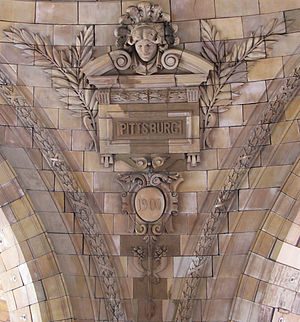 Name of Pittsburgh - Inside of the rotunda of Union Station in Pittsburgh showing the spelling as it was in 1900.