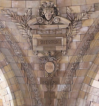 Name of Pittsburgh - Inside of the rotunda of Union Station in Pittsburgh showing the city's name as commonly spelled in 1900.