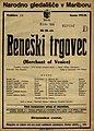 Plakat za predstavo Beneški trgovec v Narodnem gledališču v Mariboru 23. marca 1926.jpg