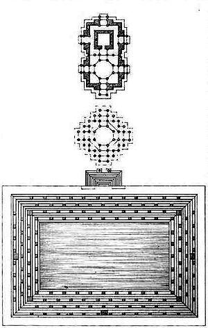 Sun Temple, Modhera - Plan of temple complex: (from top to bottom) Gudhamandapa, the shrine hall; Sabhamandapa, the assembly hall and Kunda, the reservoir