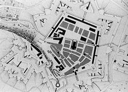 croquis représentant un plan de Belfort en 1768