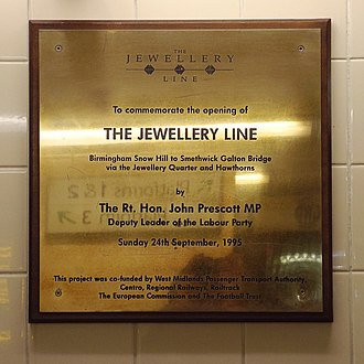 Birmingham to Worcester via Kidderminster line - Plaque at Snow Hill station, commemorating the opening of the Jewellery Line in 1995.
