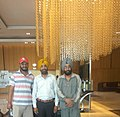 Poet Harvinder Singh (centre) with lyricist Babu Singh Mann (right) and Punjabi folk singer Hardeep (left) 01.jpg
