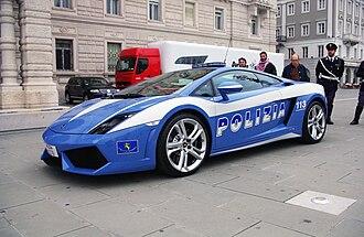 Law enforcement in Italy - A Lamborghini Gallardo of the Polizia di Stato, used for emergency intervention and transport of organs, parked in Piazza dell'Unità d'Italia in Trieste