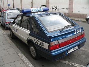 "Police transport -  An FSO Polonez was operated by polish police in years 1978-2009, on the picture the youngest Polonez ""Caro Plus"" manufactured to 2002"