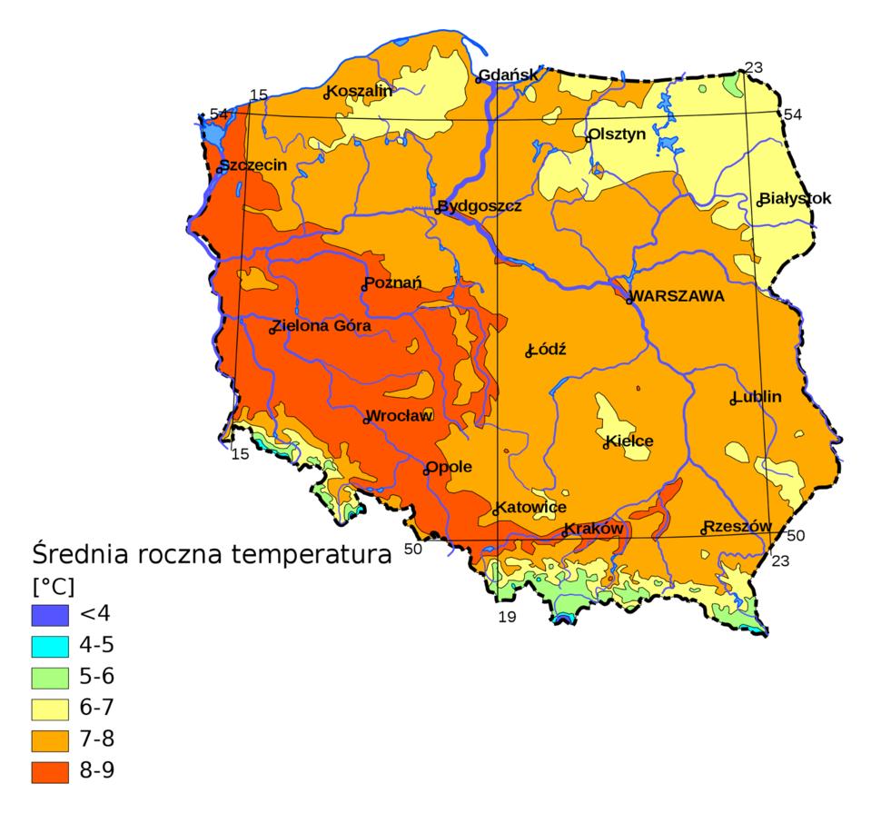 Polska średnia temperatura