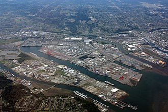 Port of Tacoma - Port of Tacoma with Commencement Bay (lower right) and Puyallup River (above center)