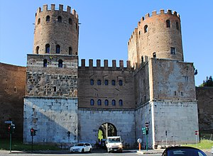 Appian Way - Porta San Sebastiano is the gate of the Appia in the Aurelian Walls
