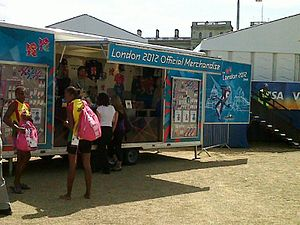 2012 Summer Olympics marketing - A portable shop at VISA FIVB Beach Volleyball International (2011)