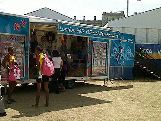 2012 Summer Olympics marketing - A portable shop at VISA FIVB Beach Volleyball International (2011)