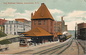 Jamestown, New York - Erie Railroad Station, 1909 postcard